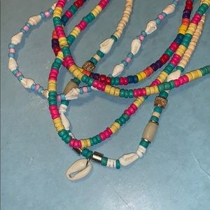 5 colorful Puka Shell and bead necklaces